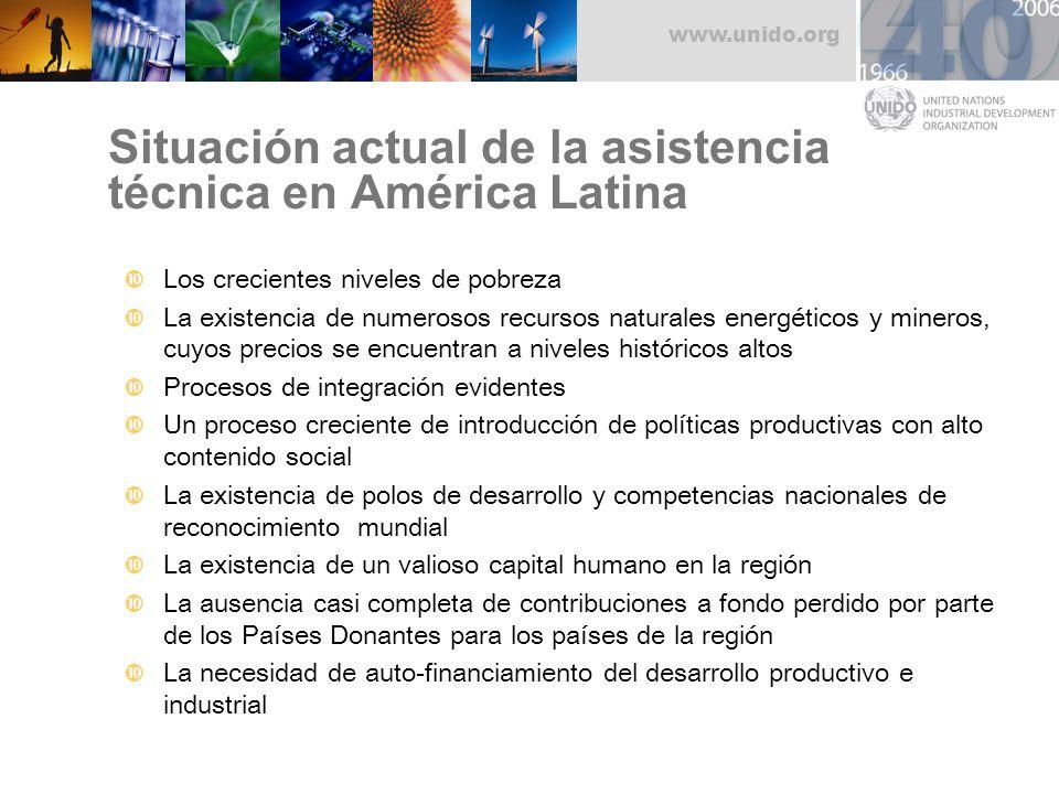 www.unido.org Situación actual de la asistencia técnica en América Latina Los crecientes niveles de pobreza La existencia de numerosos recursos natura