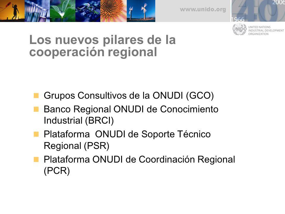 www.unido.org Los nuevos pilares de la cooperación regional Grupos Consultivos de la ONUDI (GCO) Banco Regional ONUDI de Conocimiento Industrial (BRCI