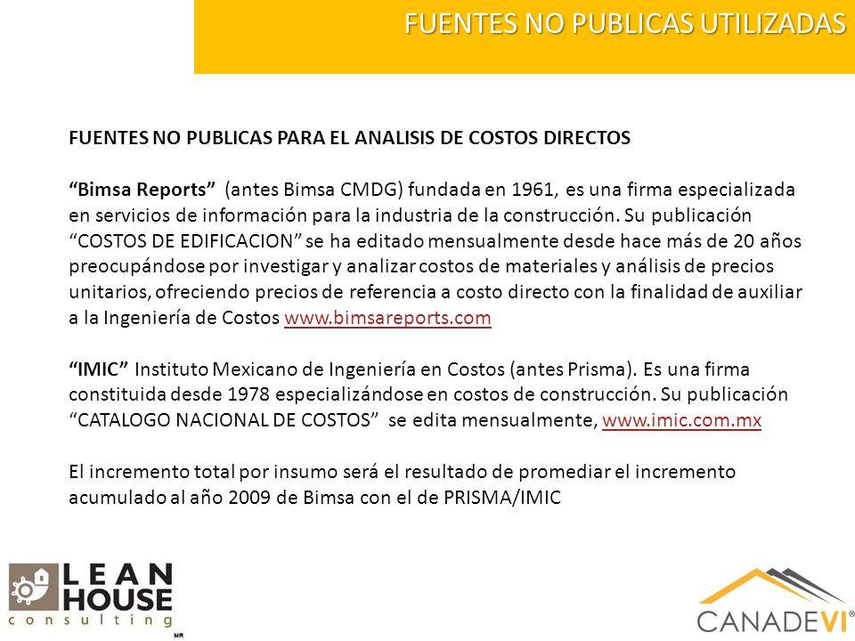 FUENTES NO PUBLICAS UTILIZADAS FUENTES NO PUBLICAS PARA EL ANALISIS DE COSTOS DIRECTOS Bimsa Reports (antes Bimsa CMDG) fundada en 1961, es una firma especializada en servicios de información para la industria de la construcción.