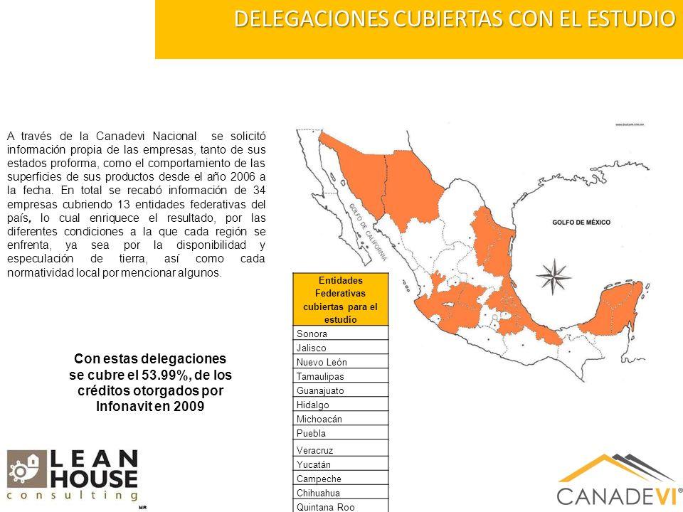 DELEGACIONES CUBIERTAS CON EL ESTUDIO A través de la Canadevi Nacional se solicitó información propia de las empresas, tanto de sus estados proforma, como el comportamiento de las superficies de sus productos desde el año 2006 a la fecha.
