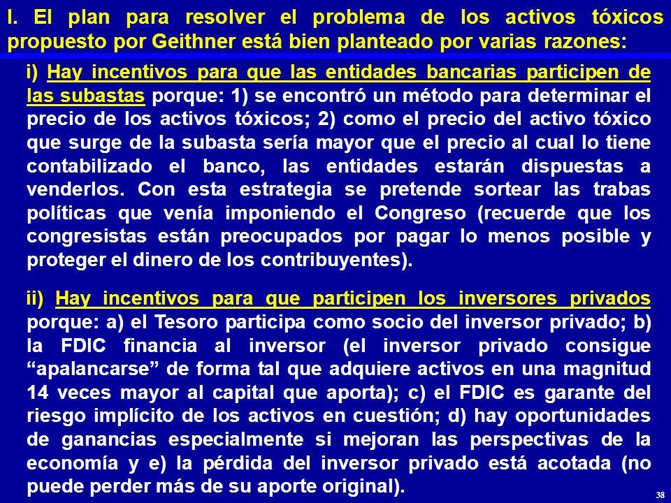 I. El plan para resolver el problema de los activos tóxicos propuesto por Geithner está bien planteado por varias razones: i) Hay incentivos para que