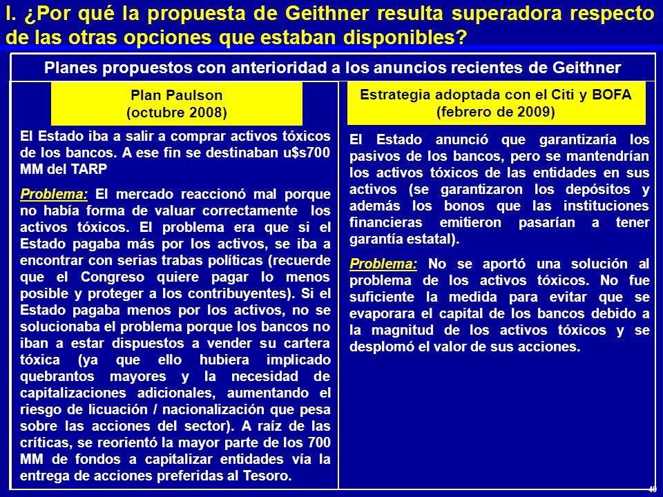 I. ¿Por qué la propuesta de Geithner resulta superadora respecto de las otras opciones que estaban disponibles? El Estado iba a salir a comprar activo