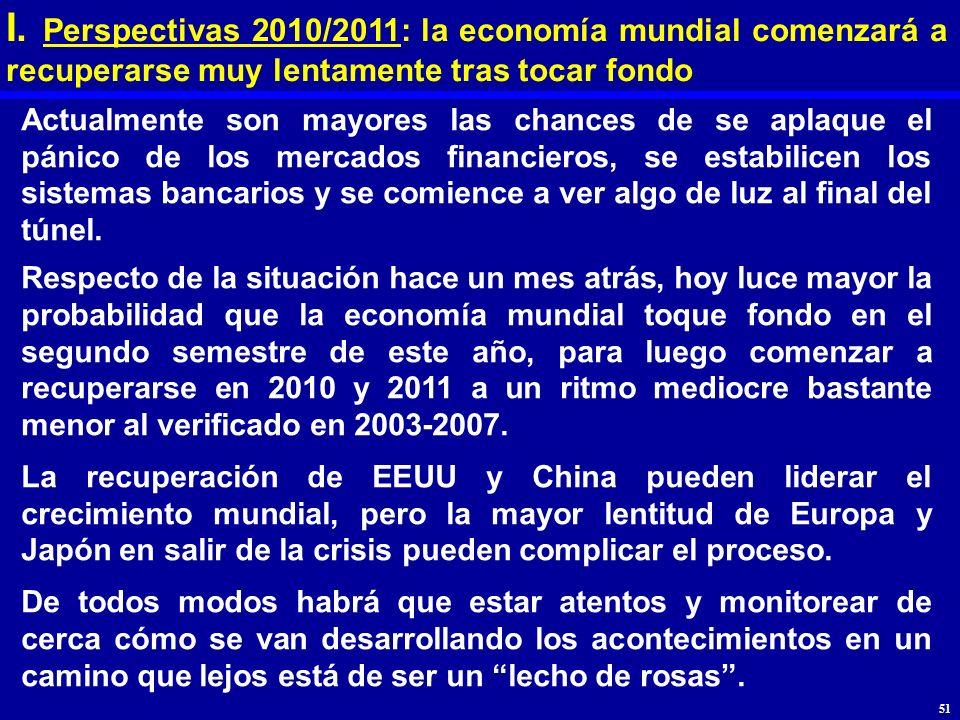 I. Perspectivas 2010/2011: la economía mundial comenzará a recuperarse muy lentamente tras tocar fondo Actualmente son mayores las chances de se aplaq