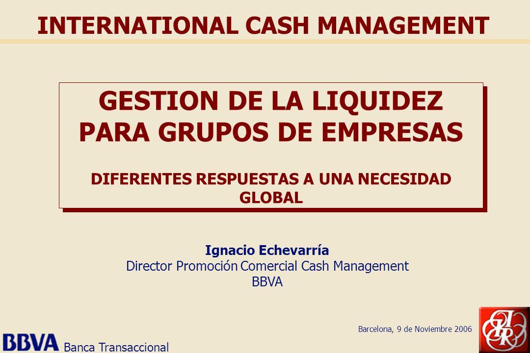 Banca Transaccional INTERNATIONAL CASH MANAGEMENT GESTION DE LA LIQUIDEZ PARA GRUPOS DE EMPRESAS DIFERENTES RESPUESTAS A UNA NECESIDAD GLOBAL Ignacio