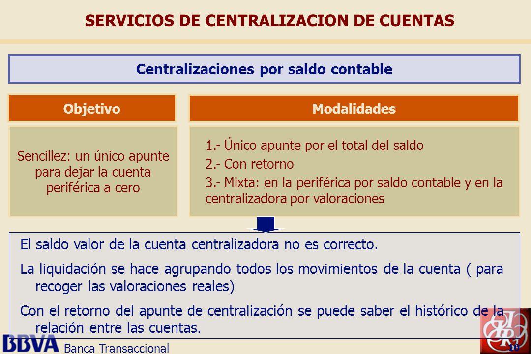 Banca Transaccional 10 Sencillez: un único apunte para dejar la cuenta periférica a cero Objetivo 1.- Único apunte por el total del saldo 2.- Con reto