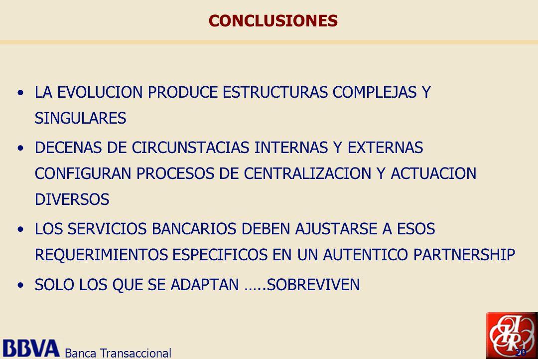 Banca Transaccional 20 LA EVOLUCION PRODUCE ESTRUCTURAS COMPLEJAS Y SINGULARES DECENAS DE CIRCUNSTACIAS INTERNAS Y EXTERNAS CONFIGURAN PROCESOS DE CEN