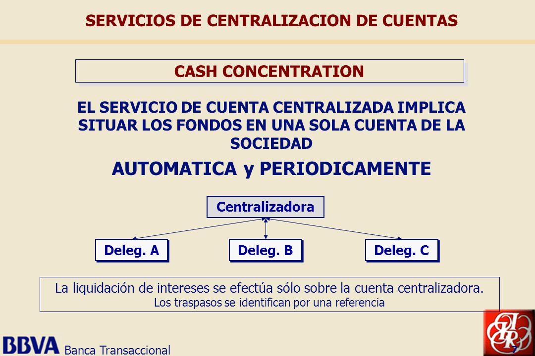 Banca Transaccional 7 EL SERVICIO DE CUENTA CENTRALIZADA IMPLICA SITUAR LOS FONDOS EN UNA SOLA CUENTA DE LA SOCIEDAD AUTOMATICA y PERIODICAMENTE Centr