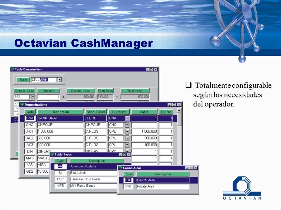 Octavian CashManager Totalmente configurable según las necesidades del operador.