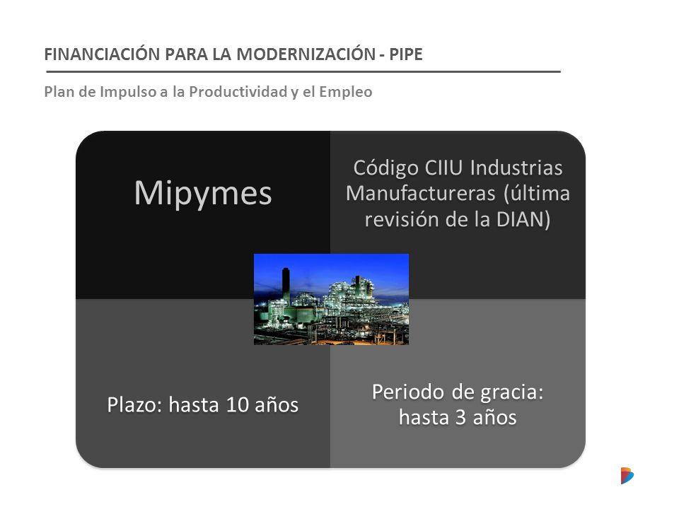 FINANCIACIÓN PARA LA MODERNIZACIÓN - PIPE Plan de Impulso a la Productividad y el Empleo