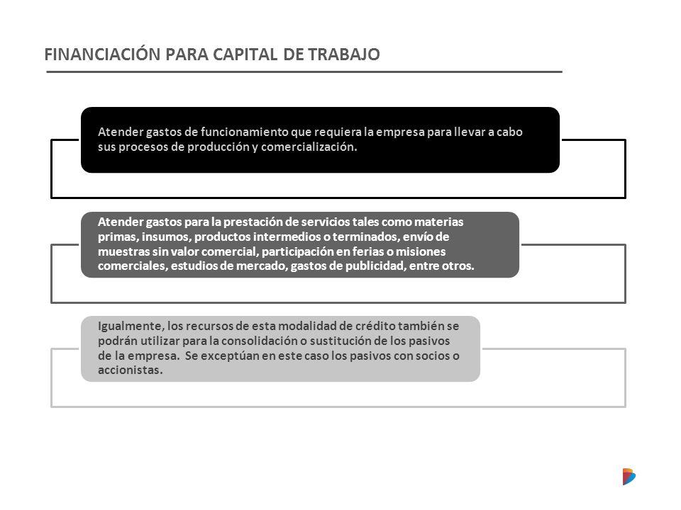 FINANCIACIÓN PARA CAPITAL DE TRABAJO Atender gastos de funcionamiento que requiera la empresa para llevar a cabo sus procesos de producción y comercialización.