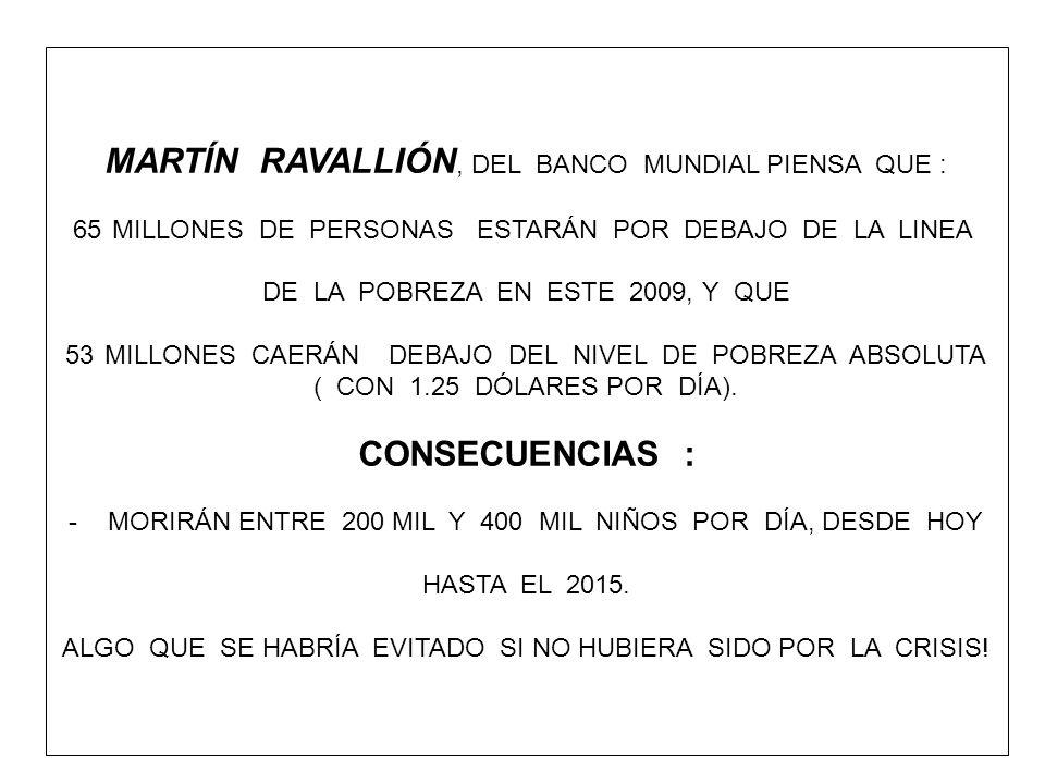 MARTÍN RAVALLIÓN, DEL BANCO MUNDIAL PIENSA QUE : 65MILLONES DE PERSONAS ESTARÁN POR DEBAJO DE LA LINEA DE LA POBREZA EN ESTE 2009, Y QUE 53MILLONES CA