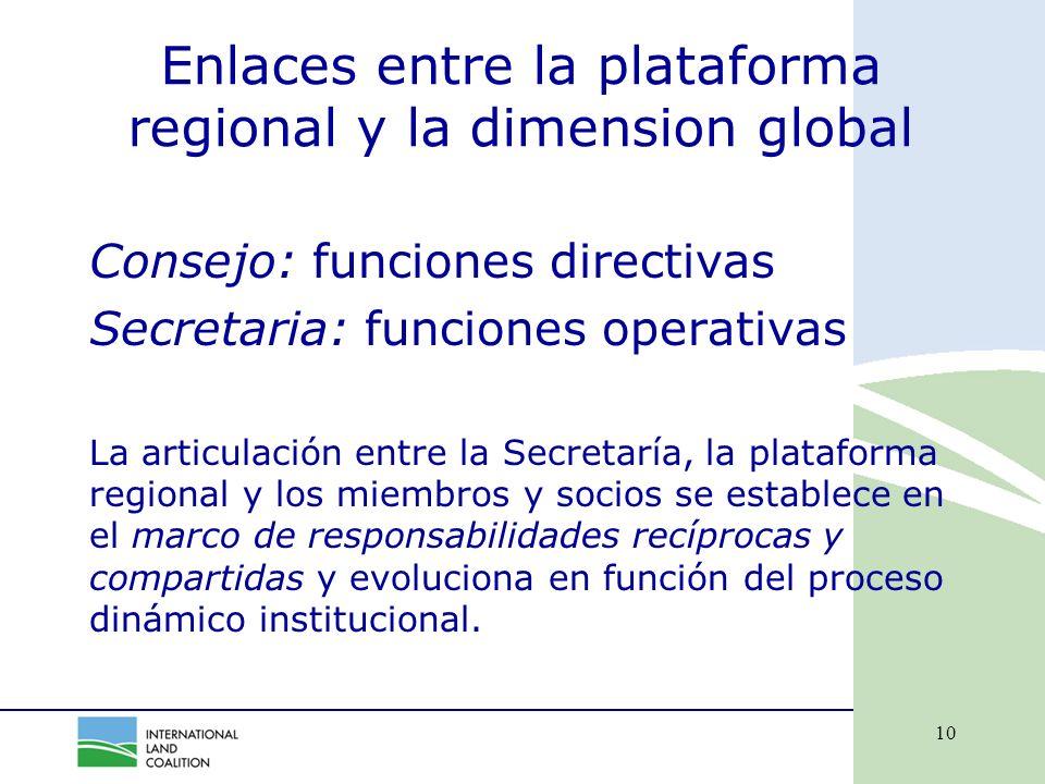 10 Enlaces entre la plataforma regional y la dimension global Consejo: funciones directivas Secretaria: funciones operativas La articulación entre la Secretaría, la plataforma regional y los miembros y socios se establece en el marco de responsabilidades recíprocas y compartidas y evoluciona en función del proceso dinámico institucional.