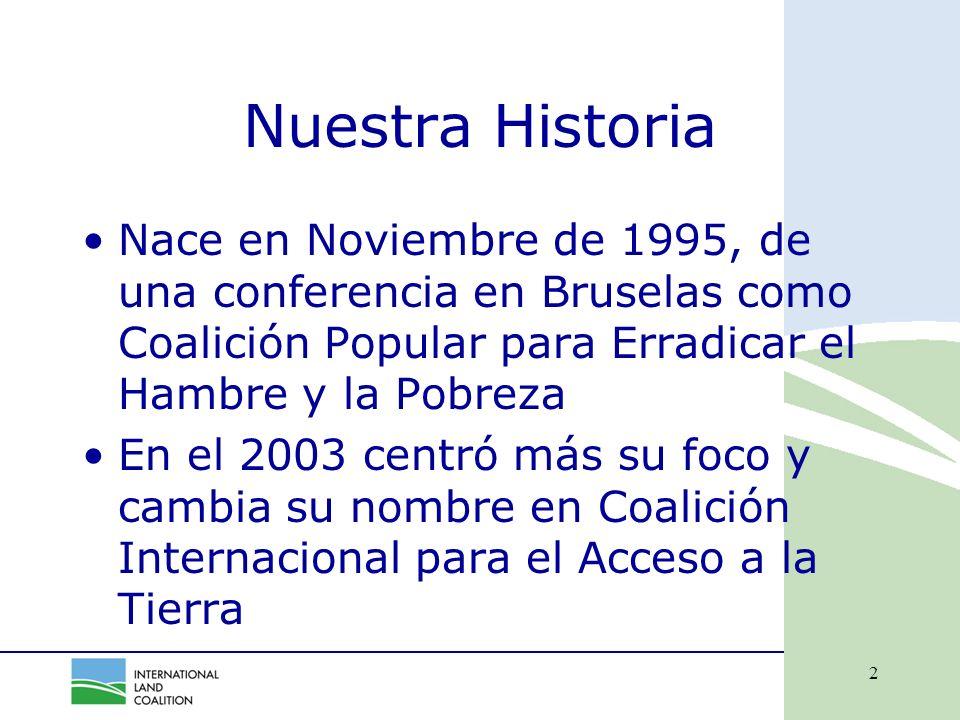 2 Nuestra Historia Nace en Noviembre de 1995, de una conferencia en Bruselas como Coalición Popular para Erradicar el Hambre y la Pobreza En el 2003 centró más su foco y cambia su nombre en Coalición Internacional para el Acceso a la Tierra