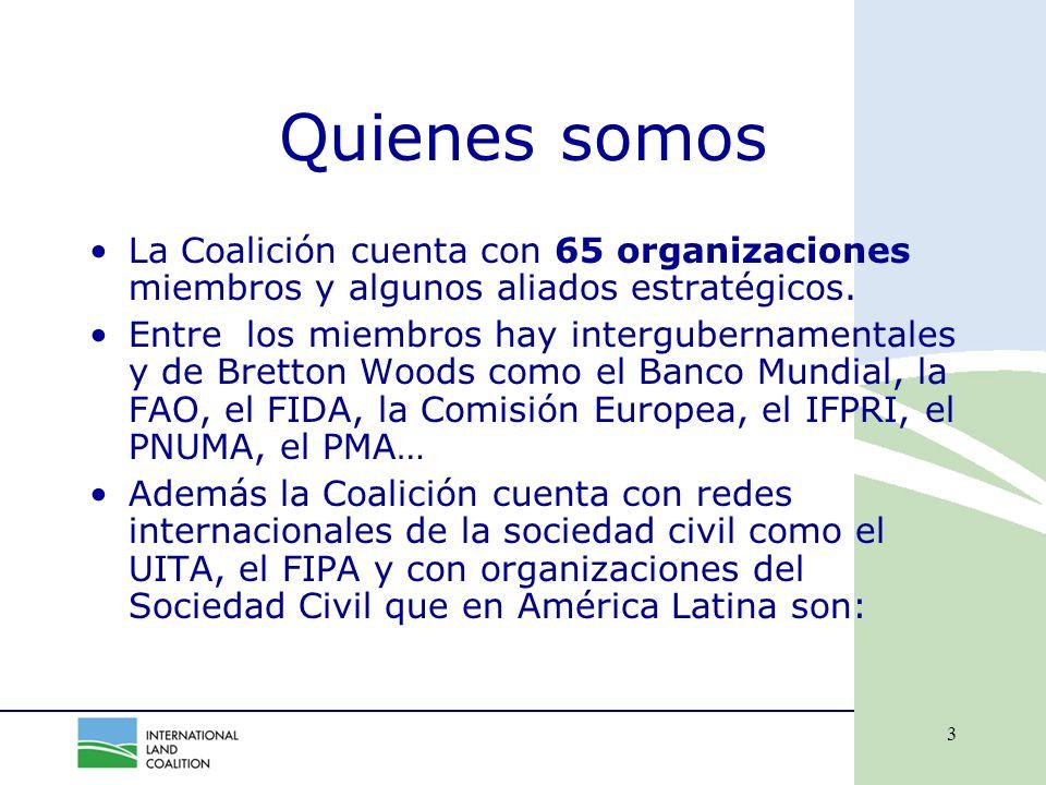 3 Quienes somos La Coalición cuenta con 65 organizaciones miembros y algunos aliados estratégicos.