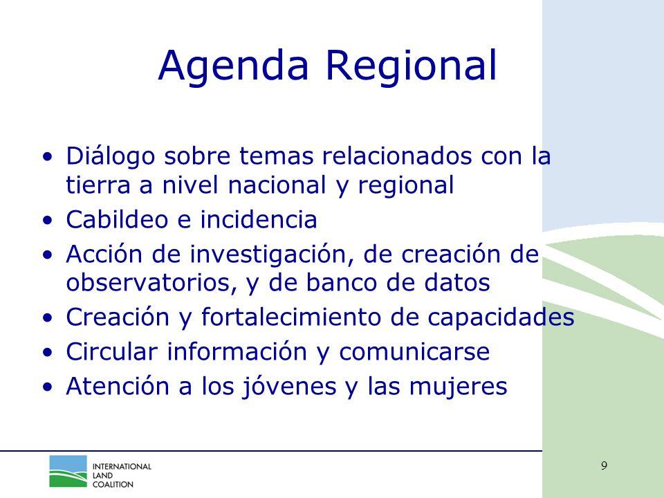 9 Agenda Regional Diálogo sobre temas relacionados con la tierra a nivel nacional y regional Cabildeo e incidencia Acción de investigación, de creación de observatorios, y de banco de datos Creación y fortalecimiento de capacidades Circular información y comunicarse Atención a los jóvenes y las mujeres