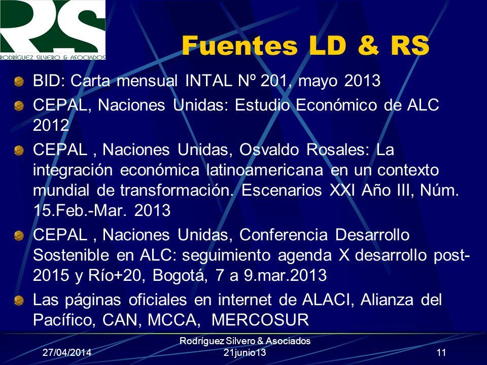 27/04/2014 Rodríguez Silvero & Asociados 21junio13 Fuentes LD & RS BID: Carta mensual INTAL Nº 201, mayo 2013 CEPAL, Naciones Unidas: Estudio Económic