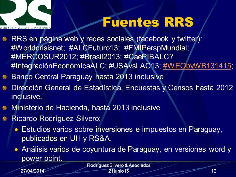 27/04/2014 Rodríguez Silvero & Asociados 21junio13 Fuentes RRS RRS en página web y redes sociales (facebook y twitter): #Worldcrisisnet; #ALCFuturo13; #FMIPerspMundial; #MERCOSUR2012; #Brasil2013; #CaePIBALC.