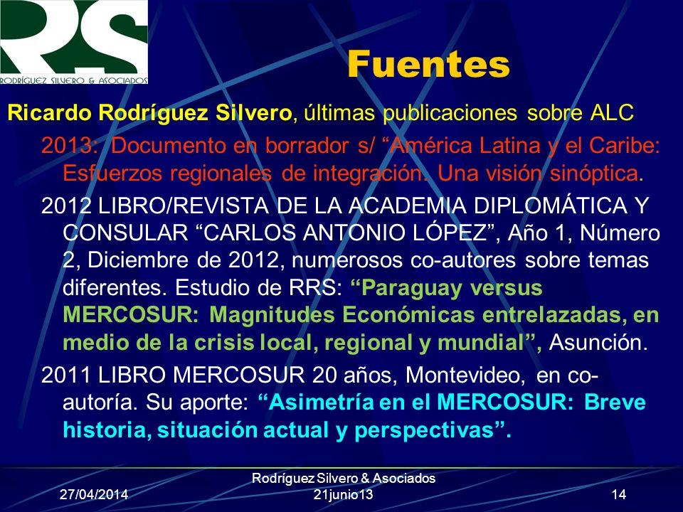 27/04/2014 Rodríguez Silvero & Asociados 21junio13 Fuentes Ricardo Rodríguez Silvero, últimas publicaciones sobre ALC 2013: Documento en borrador s/ América Latina y el Caribe: Esfuerzos regionales de integración.