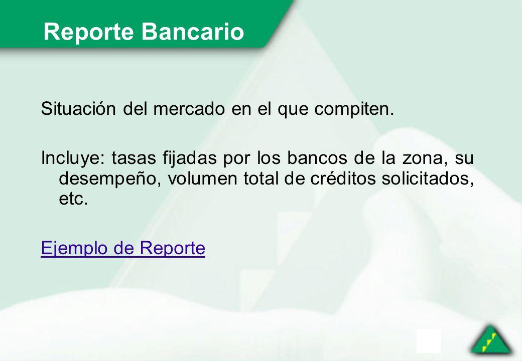 Reporte Bancario Situación del mercado en el que compiten.