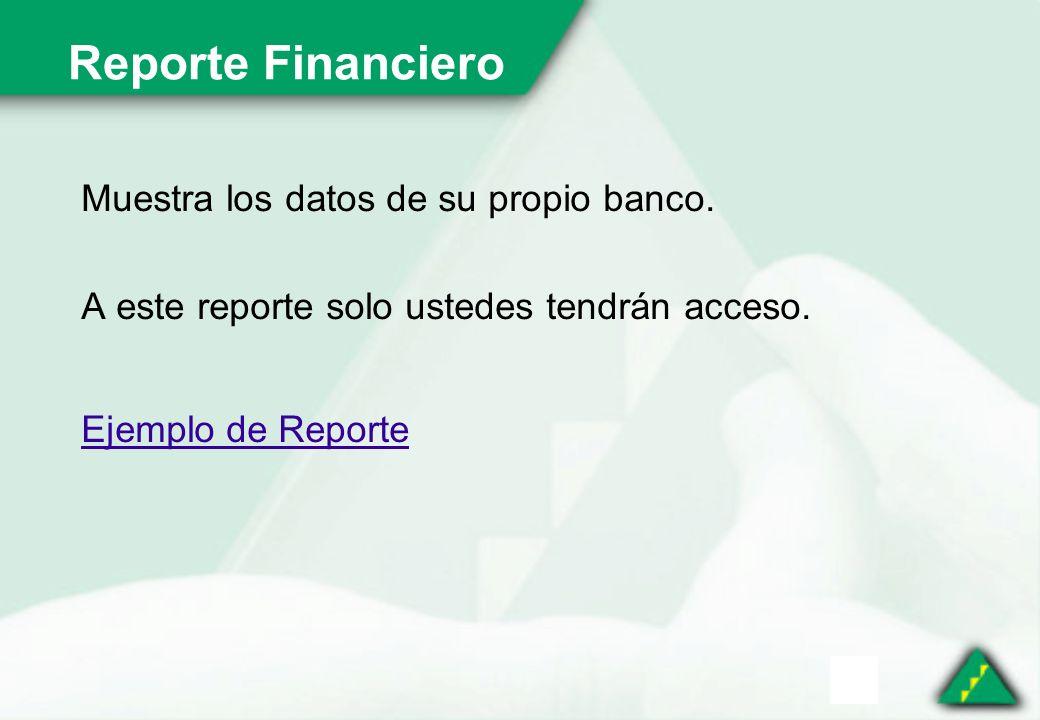 Reporte Financiero Muestra los datos de su propio banco.