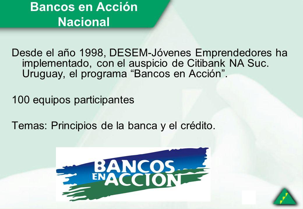 Bancos en Acción Nacional Desde el año 1998, DESEM-Jóvenes Emprendedores ha implementado, con el auspicio de Citibank NA Suc.