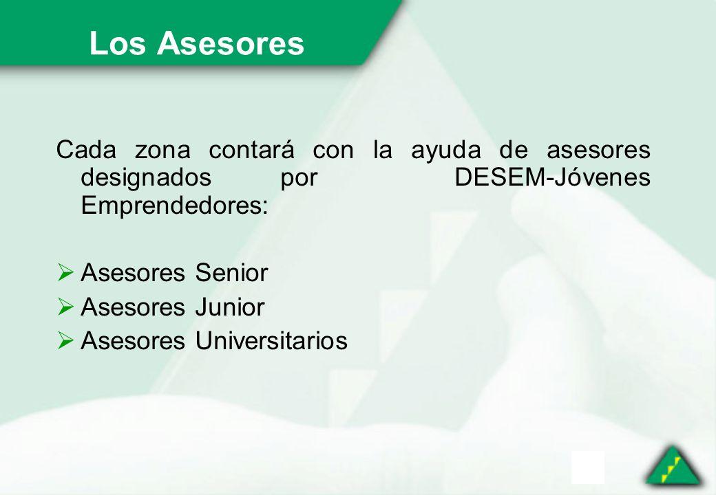Los Asesores Cada zona contará con la ayuda de asesores designados por DESEM-Jóvenes Emprendedores: Asesores Senior Asesores Junior Asesores Universitarios