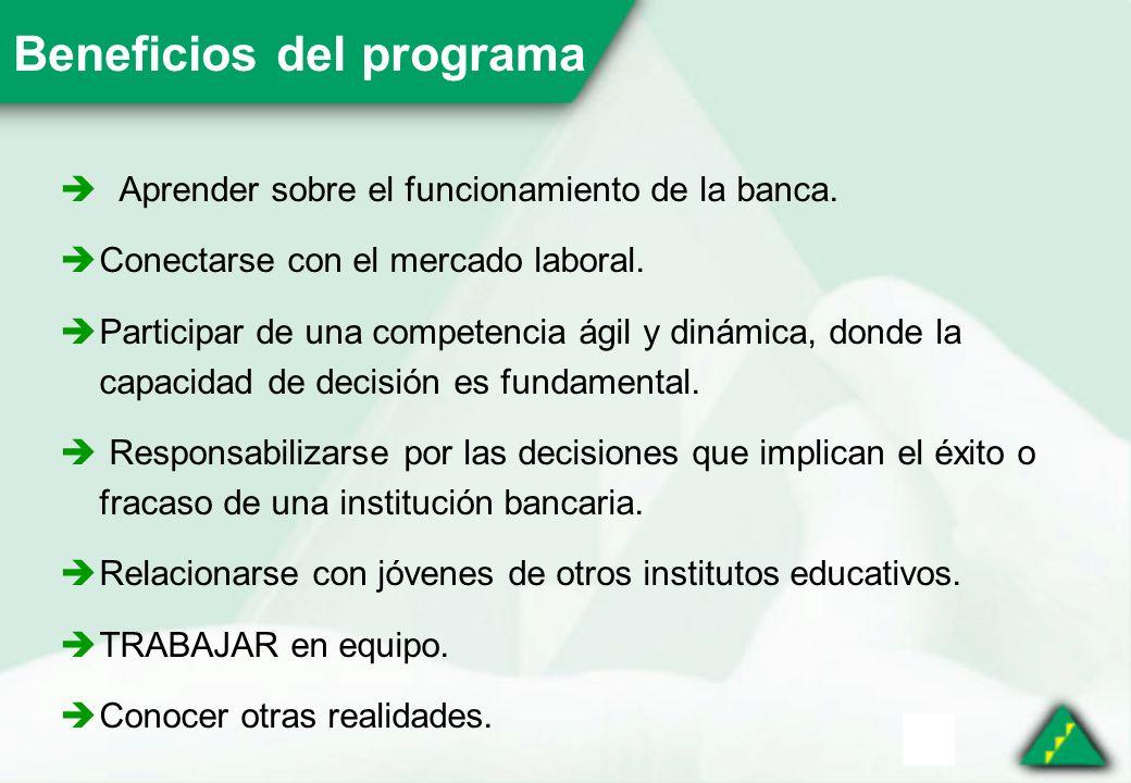 Beneficios del programa Aprender sobre el funcionamiento de la banca.