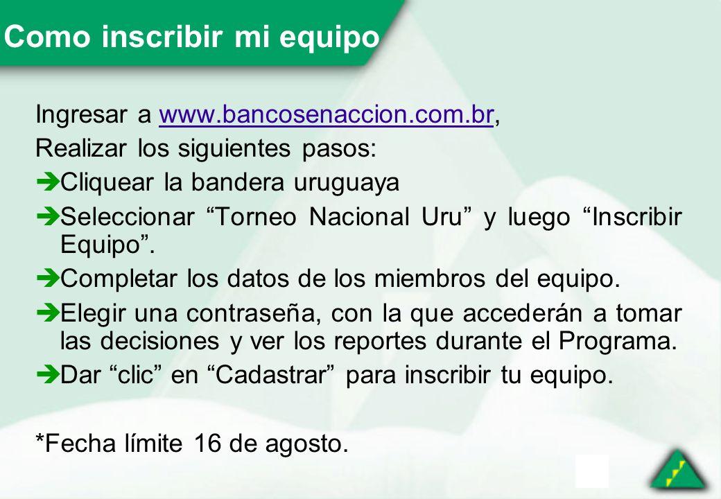 Como inscribir mi equipo Ingresar a www.bancosenaccion.com.br,www.bancosenaccion.com.br Realizar los siguientes pasos: Cliquear la bandera uruguaya Seleccionar Torneo Nacional Uru y luego Inscribir Equipo.
