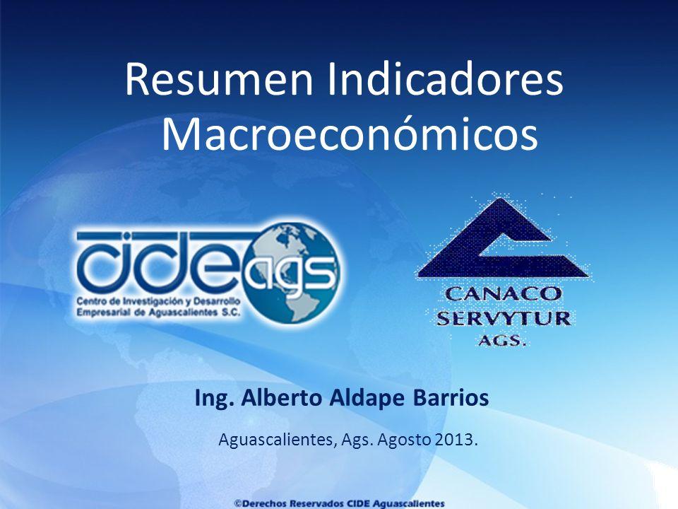 Aguascalientes, Ags. Agosto 2013. Ing. Alberto Aldape Barrios Resumen Indicadores Macroeconómicos