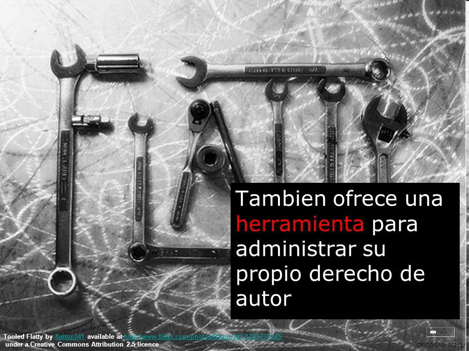 Tambien ofrece una herramienta para administrar su propio derecho de autor Tooled Flatty by flattop341 available at http://www.flickr.com/photos/flattop341/1085739925/flattop341http://www.flickr.com/photos/flattop341/1085739925/ under a Creative Commons Attribution 2.5 licence CRICOS No.