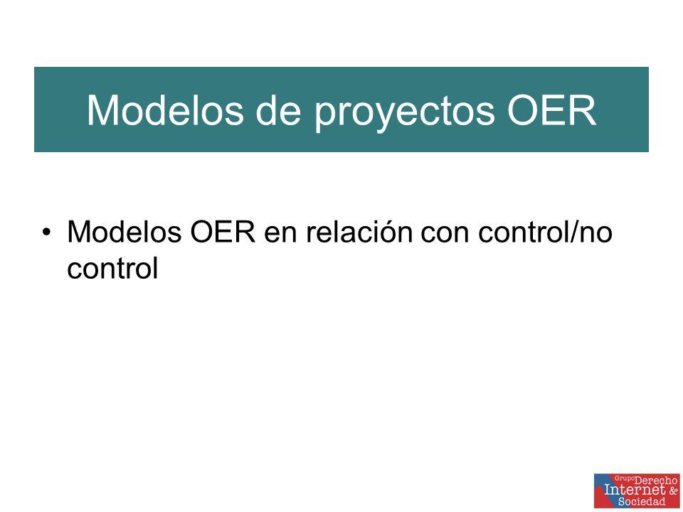Modelos de proyectos OER Modelos OER en relación con control/no control