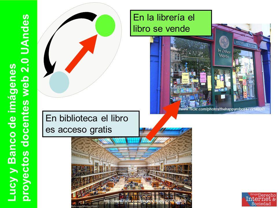 http://www.flickr.com/photos/chanc/2558304478/ http://www.flickr.com/photos/thehappyrobot/477214937/ En biblioteca el libro es acceso gratis En la librería el libro se vende Lucy y Banco de imágenes proyectos docentes web 2.0 UAndes