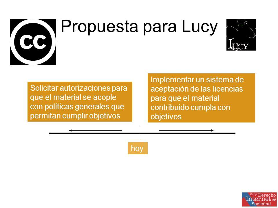 Propuesta para Lucy hoy Solicitar autorizaciones para que el material se acople con políticas generales que permitan cumplir objetivos Implementar un sistema de aceptación de las licencias para que el material contribuido cumpla con objetivos