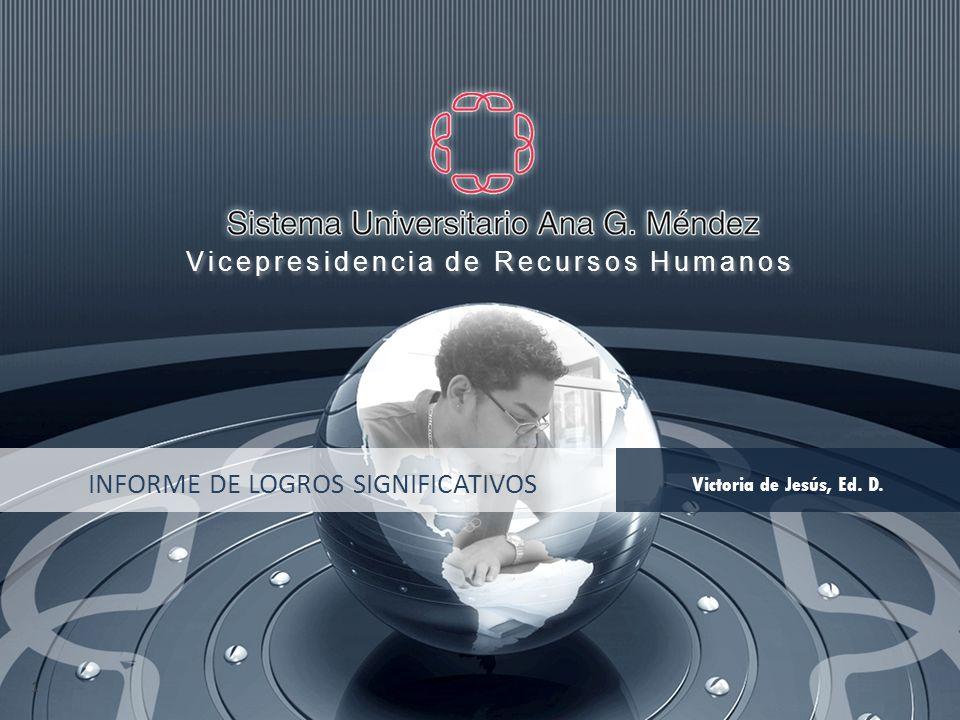 INFORME DE LOGROS SIGNIFICATIVOS Victoria de Jesús, Ed. D. 1 Vicepresidencia de Recursos Humanos Vicepresidencia de Recursos Humanos