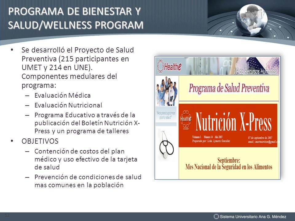 PROGRAMA DE BIENESTAR Y SALUD/WELLNESS PROGRAM Se desarrolló el Proyecto de Salud Preventiva (215 participantes en UMET y 214 en UNE). Componentes med