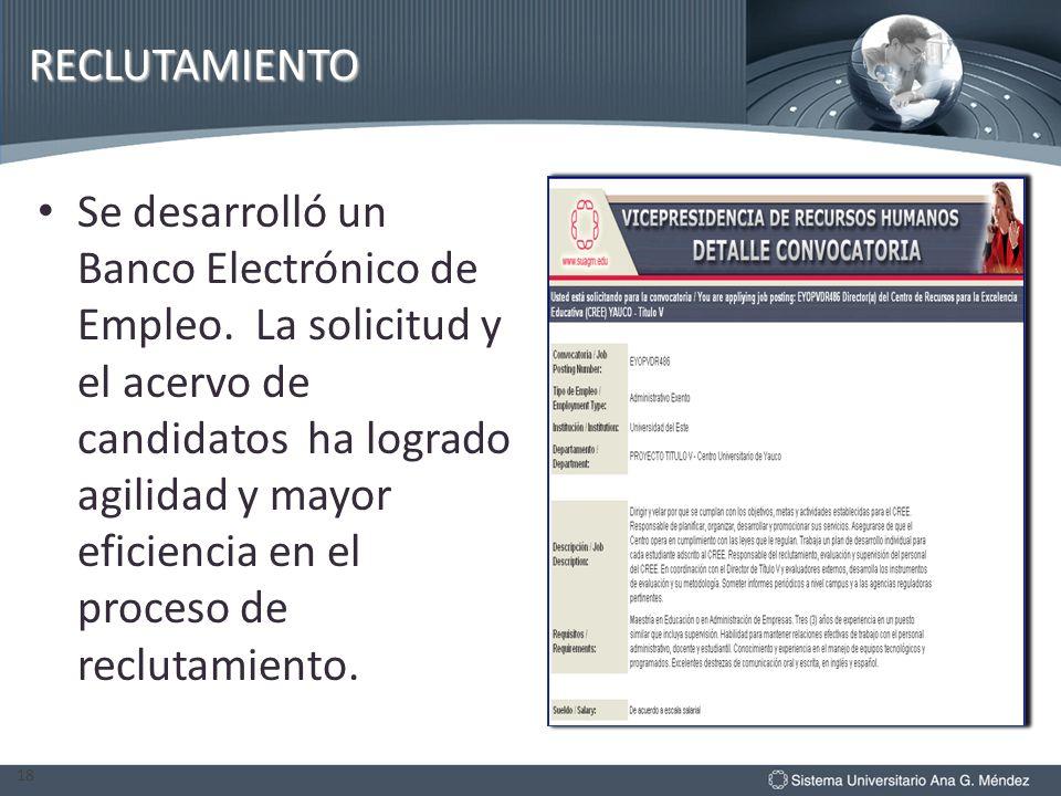 RECLUTAMIENTO Se desarrolló un Banco Electrónico de Empleo. La solicitud y el acervo de candidatos ha logrado agilidad y mayor eficiencia en el proces