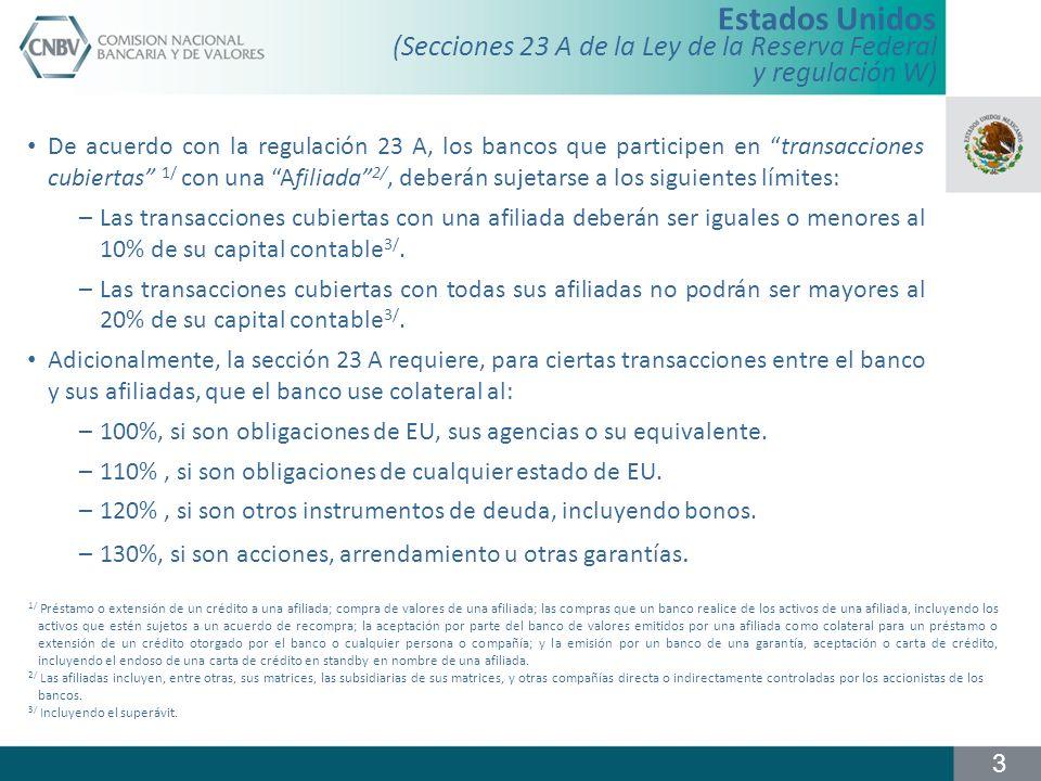 (Secciones 23 A de la Ley de la Reserva Federal y regulación W) De acuerdo con la regulación 23 A, los bancos que participen en transacciones cubierta