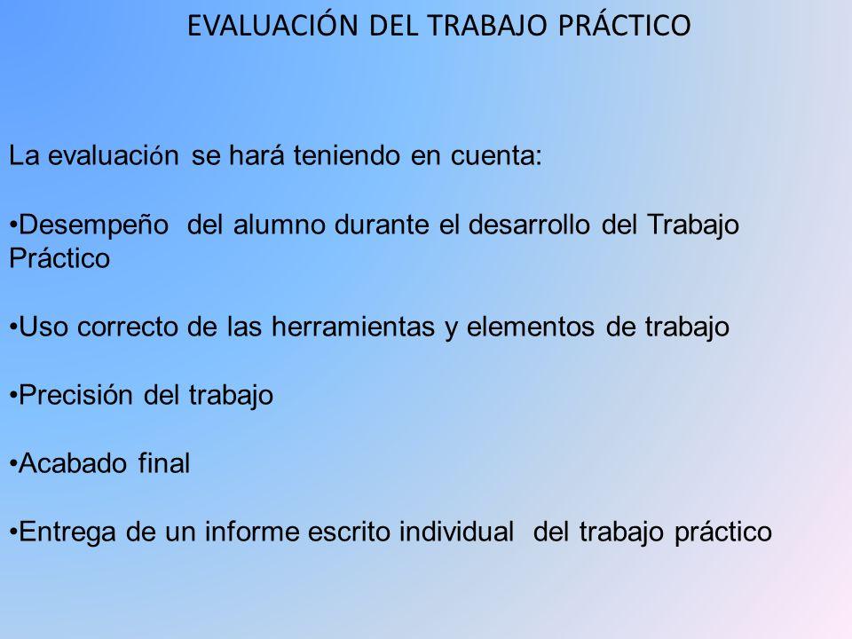 EVALUACIÓN DEL TRABAJO PRÁCTICO La evaluaci ó n se hará teniendo en cuenta: Desempeño del alumno durante el desarrollo del Trabajo Práctico Uso correc
