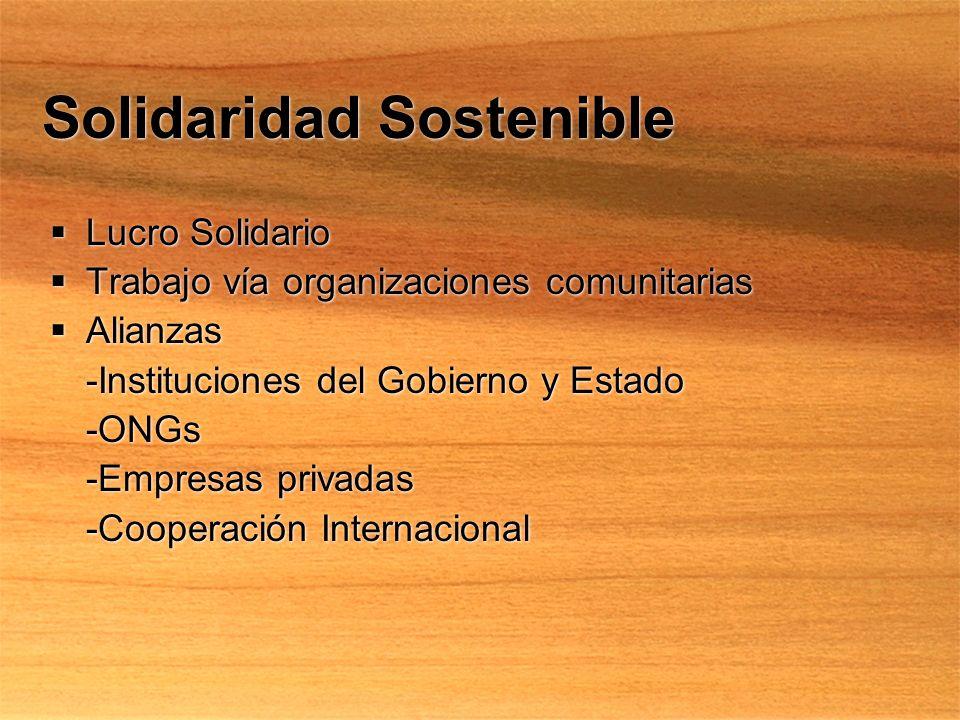 Solidaridad Sostenible Lucro Solidario Trabajo vía organizaciones comunitarias Alianzas -Instituciones del Gobierno y Estado -ONGs -Empresas privadas -Cooperación Internacional Lucro Solidario Trabajo vía organizaciones comunitarias Alianzas -Instituciones del Gobierno y Estado -ONGs -Empresas privadas -Cooperación Internacional