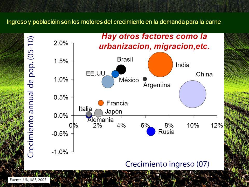 Ingreso y poblacióin son los motores del crecimiento en la demanda para la carne