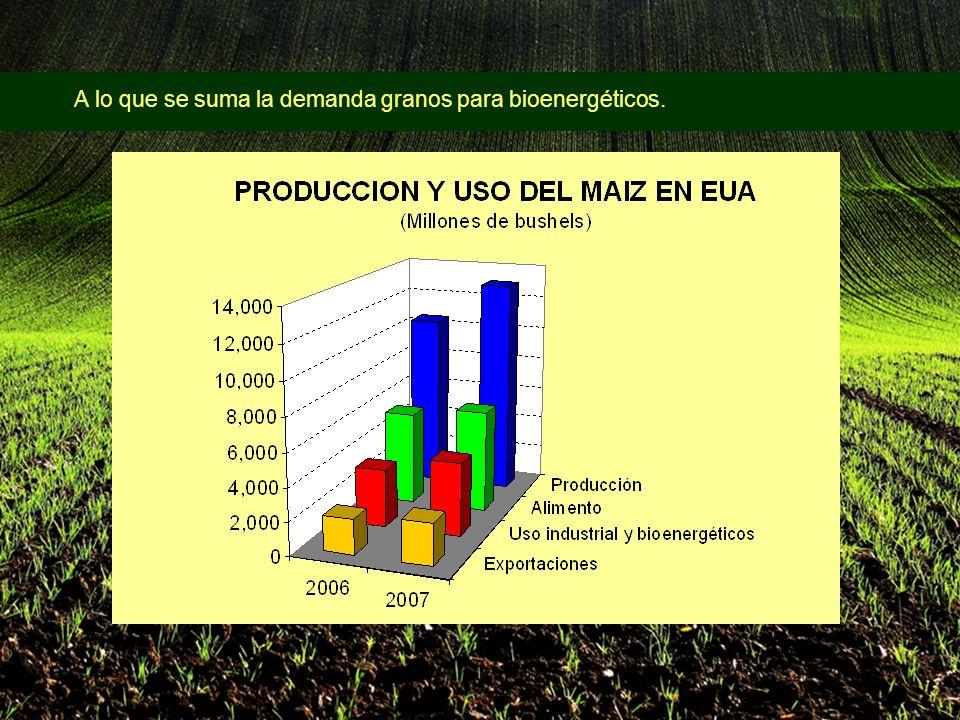 A lo que se suma la demanda granos para bioenergéticos.