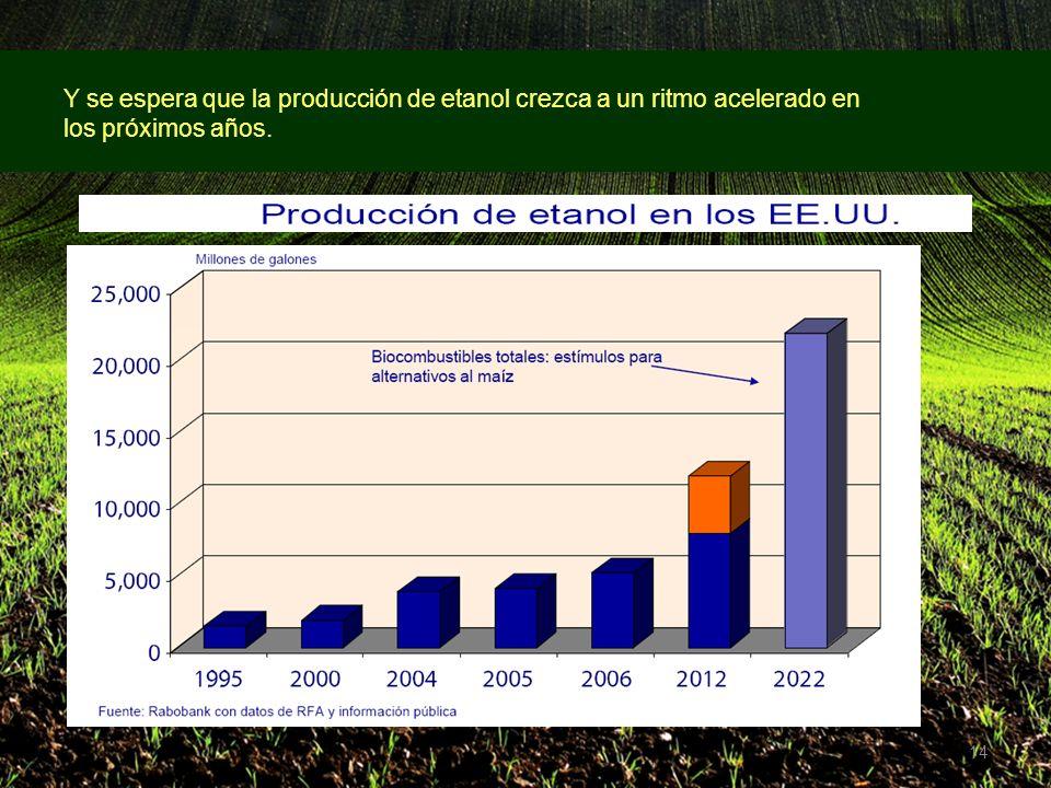 14 Y se espera que la producción de etanol crezca a un ritmo acelerado en los próximos años.