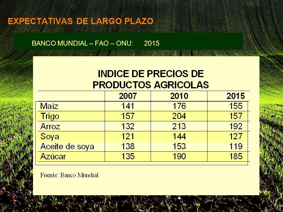 BANCO MUNDIAL – FAO – ONU: 2015 EXPECTATIVAS DE LARGO PLAZO