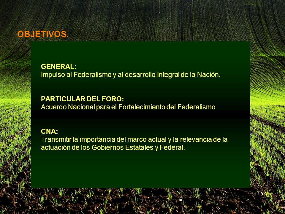 El objetivo es: Dotar al sector agropecuario mexicano de los elementos estructurales, las políticas, el marco jurídico y los recursos que le permitan aumentar su productividad, ser competitivo y viable a nivel nacional e internacional y consolidar su desarrollo.