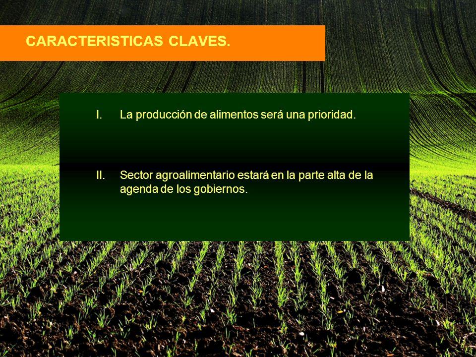 CARACTERISTICAS CLAVES. I.La producción de alimentos será una prioridad.