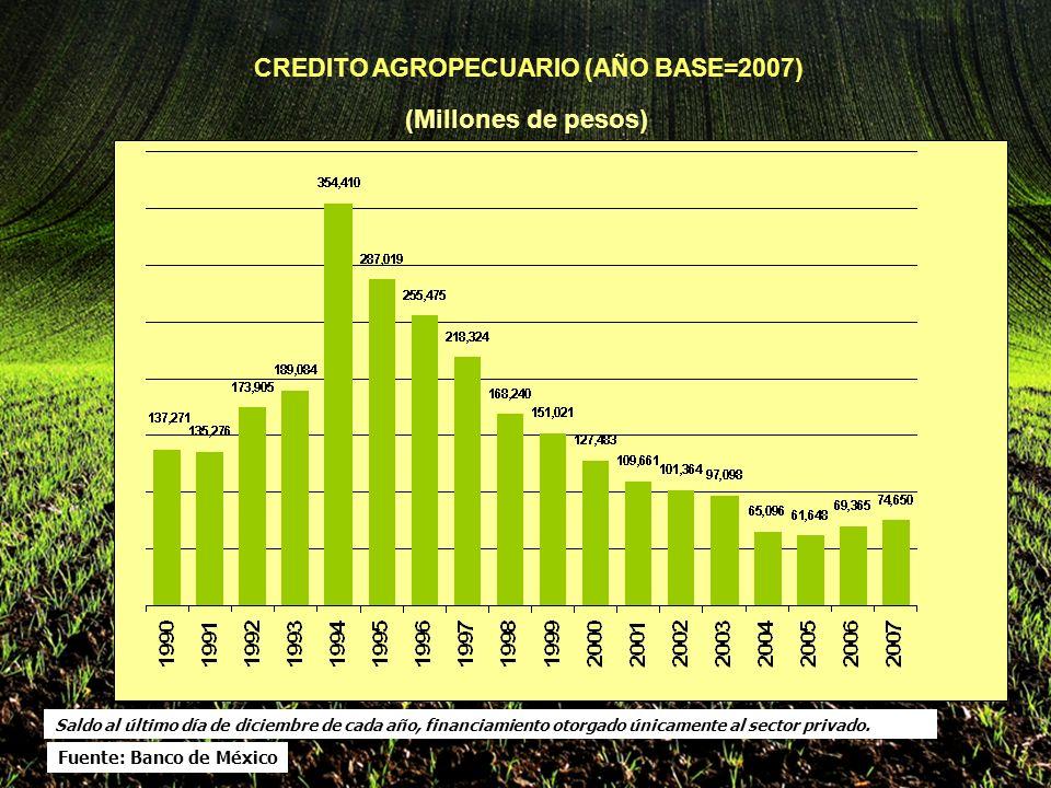 CREDITO AGROPECUARIO (AÑO BASE=2007) (Millones de pesos) Saldo al último día de diciembre de cada año, financiamiento otorgado únicamente al sector privado.
