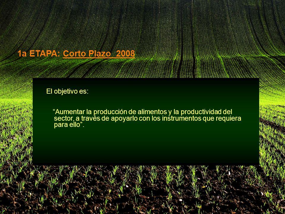 El objetivo es: Aumentar la producción de alimentos y la productividad del sector, a través de apoyarlo con los instrumentos que requiera para ello.