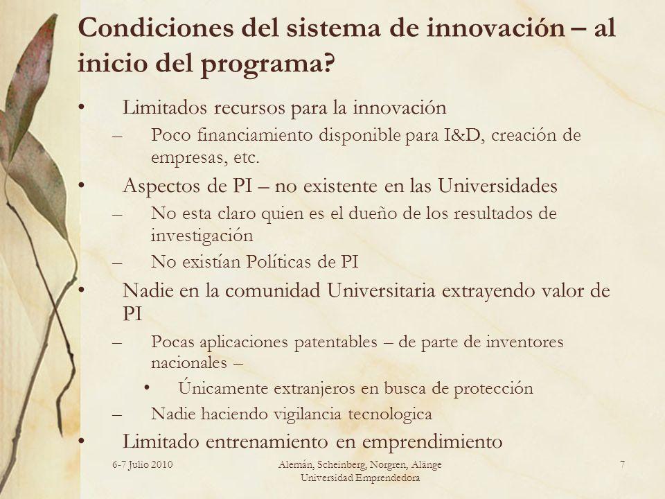 Condiciones del sistema de innovación – al inicio del programa? Limitados recursos para la innovación –Poco financiamiento disponible para I&D, creaci