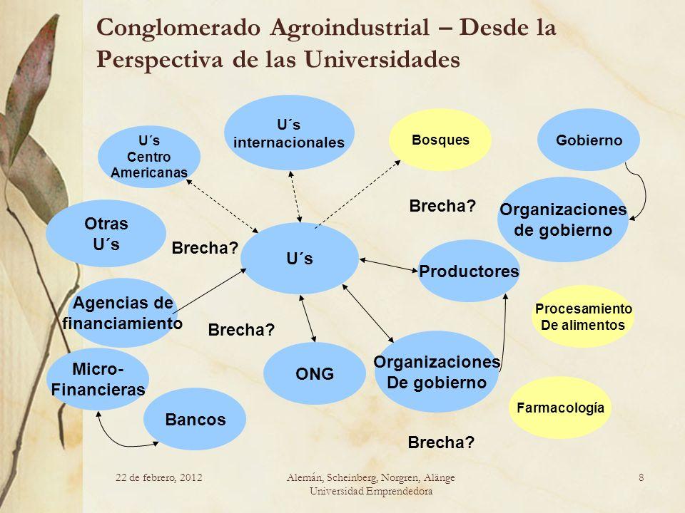 22 de febrero, 2012Alemán, Scheinberg, Norgren, Alänge Universidad Emprendedora 8 Conglomerado Agroindustrial – Desde la Perspectiva de las Universida