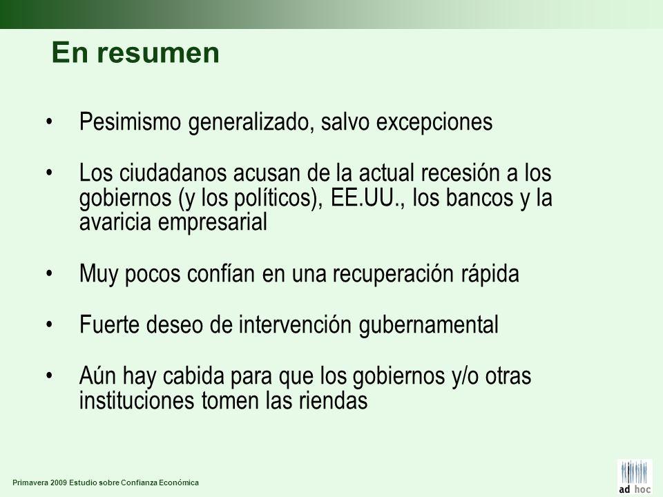 Primavera 2009 Estudio sobre Confianza Económica En resumen Pesimismo generalizado, salvo excepciones Los ciudadanos acusan de la actual recesión a lo